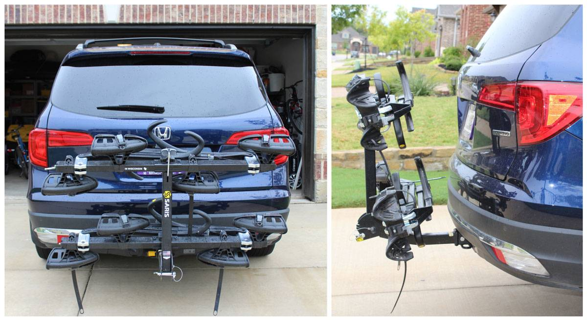 Saris Super Clamp EX 4 bike car rack without any bikes, folded up. Rear shot and side shot to show low profile.