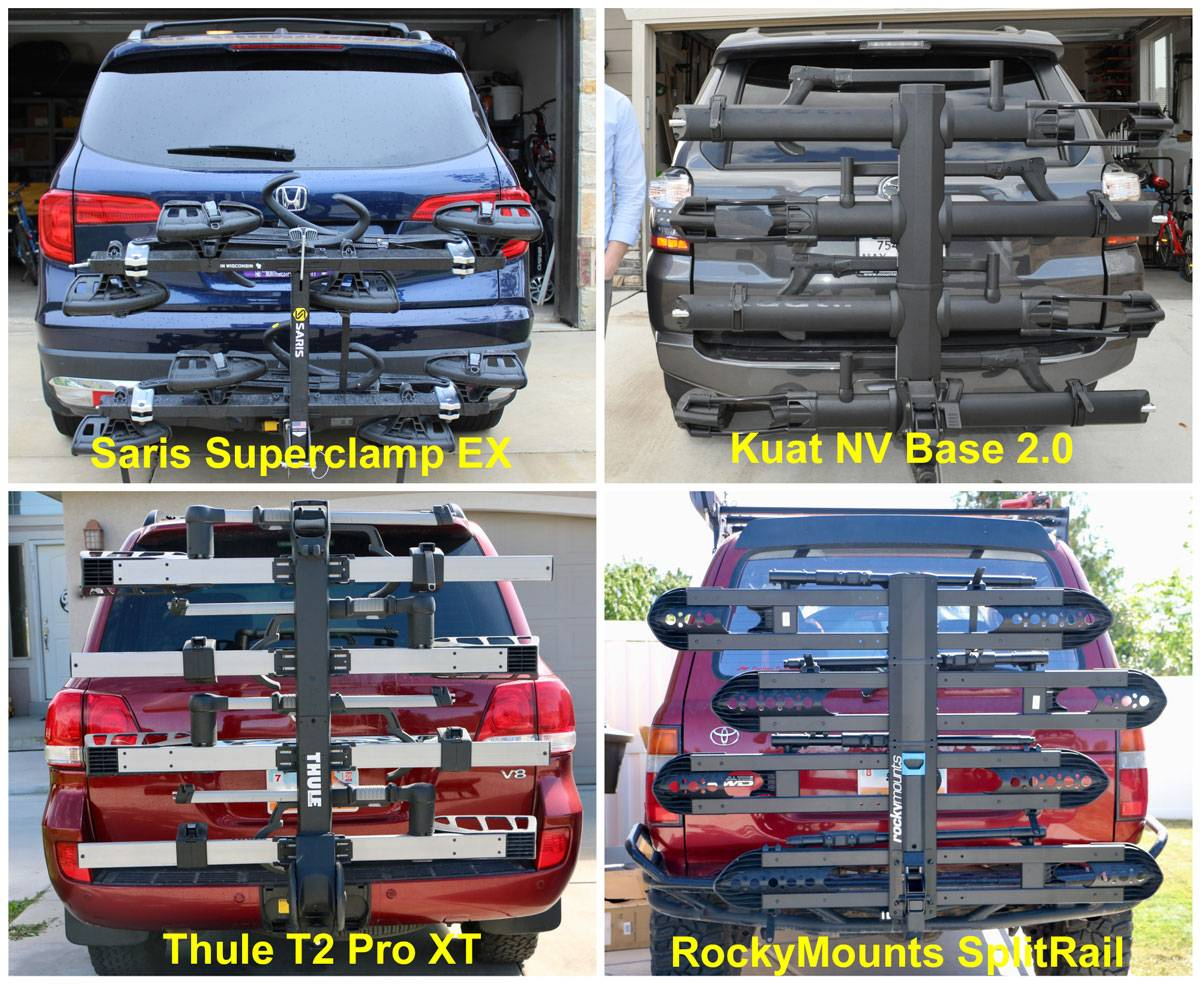 Side by side comparison of four racks showing how much they block the rear window view. The Saris SuperClamp EX doesn't block the rear window at all, while the Kuat NV Base 2.0, Thule T2 Pro XT, and RockyMounts SplitRail block the entire rear window when folded up and not carrying bikes.