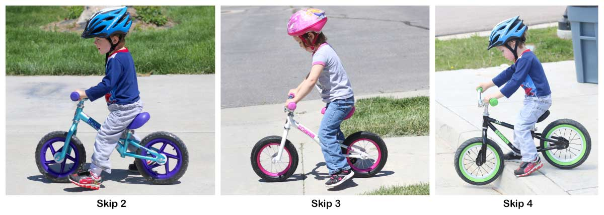 Same child riding a Schwinn Skip 2, Skip 3, and Skip 4 balance bike.