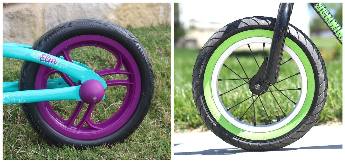 Side by side comparison of foam tire on Schwinn Elm balance bike and air tire on Schwinn Skip 4 balance bike
