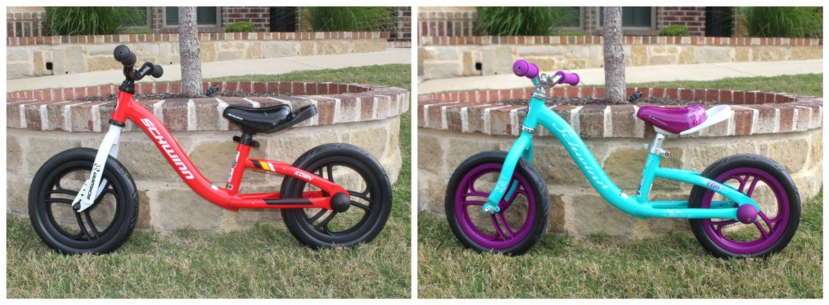 Schwinn Elm and Koen balance bikes side by side