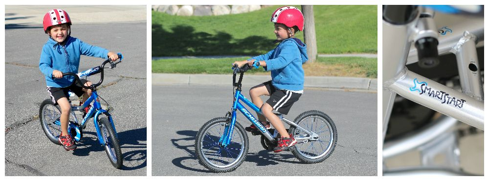 "5-year-old boy riding the Schwinn SmartStart Cosmo 16"" kid's bike"