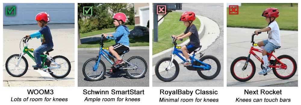 "Collage showing difference in legroom for several 16"" kids' bikes. The WOOM 3 has lots of room for kids' knees. The Schwinn SmartStart also has ample room for knees. RoyalBaby Classic has minimal room for knees, while Next Rocket has no room for kids' knees."