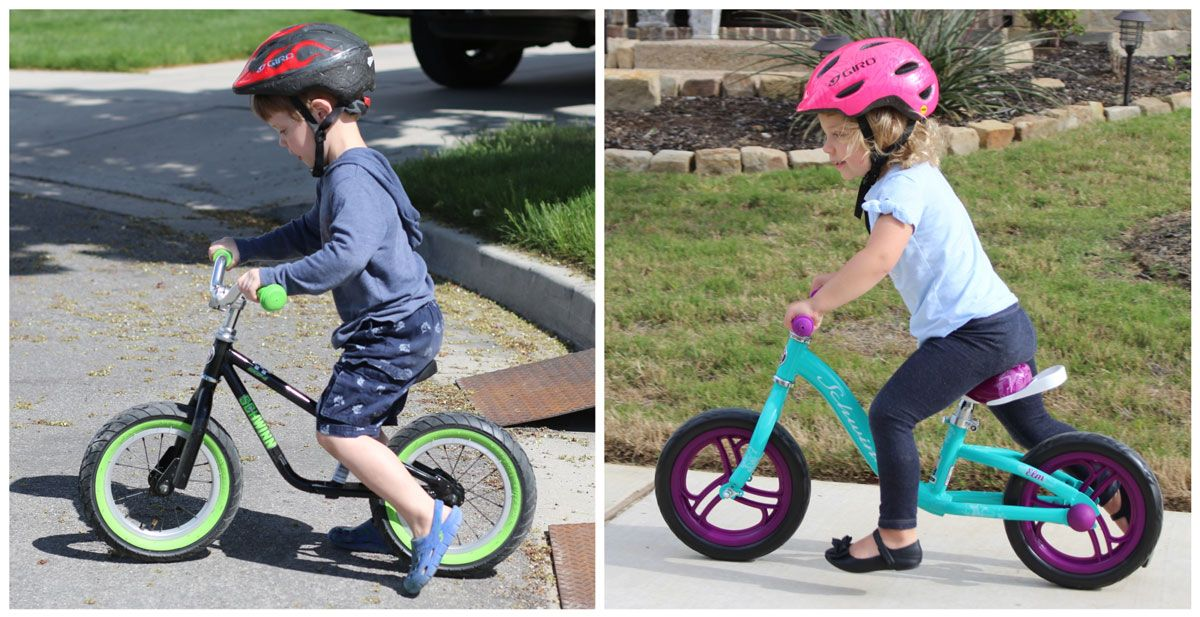 Side by side comparison of child's body position on Schwinn Skip 4 and Schwinn Elm balance bikes. The child on the Skip 4 is more upright.