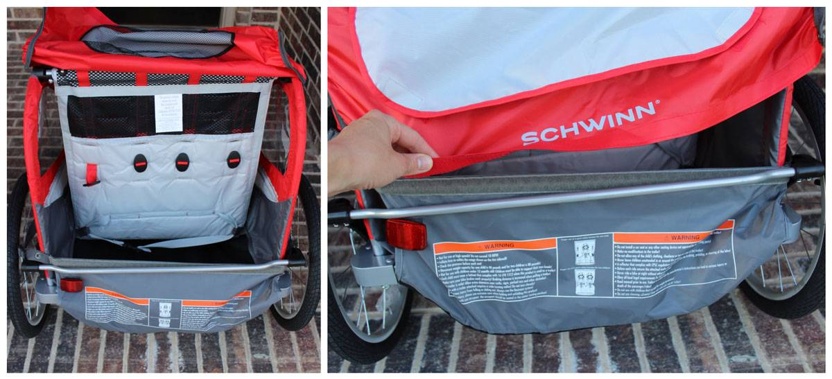 Rear storage on the Schwinn Trailblazer bike trailer has a low compartment that is secured by a flimsy cover and velcro