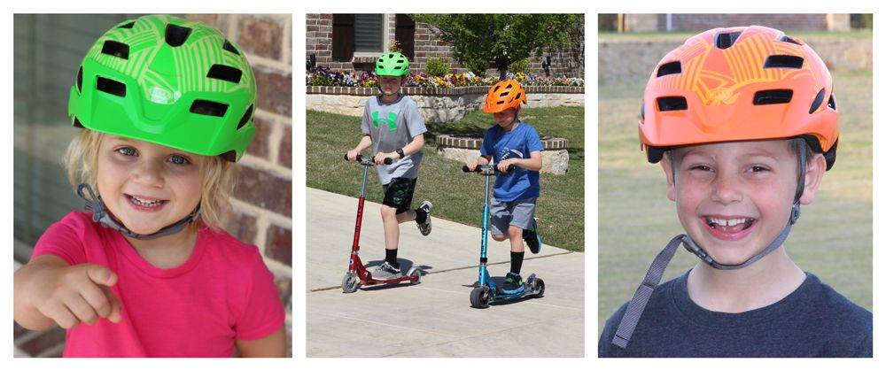 4 year old girl wearing Bell Sidetrack Child helmet, 7 year old boy wearing Bell Sidetrack Youth helmet, two boys wearing Sidetrack helmets and riding scooters