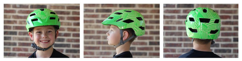 7 year old boy wearing Bell Sidetrack Child helmet. Views from front, side, and back.