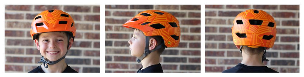 7 year old boy wearing Bell Sidetrack Youth helmet. Views from front, side, and back.