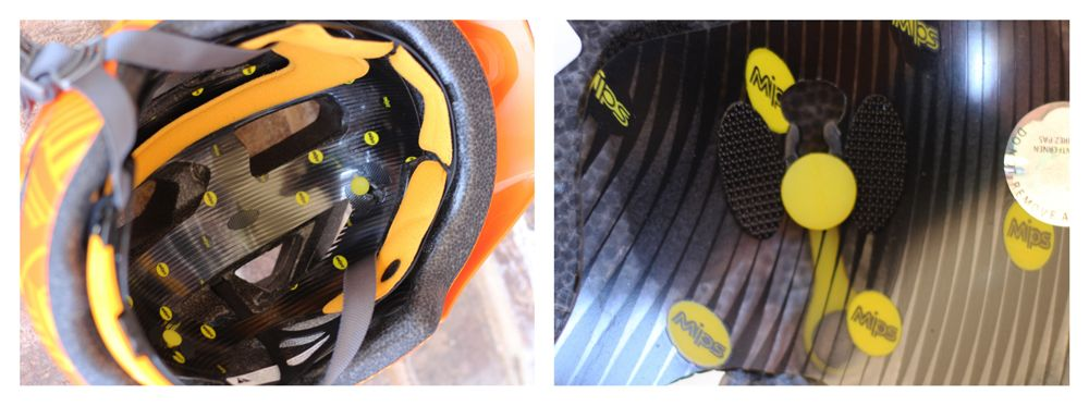 MIPS plastic shell inside the Bell Sidetrack Youth helmet, and upclose shot of MIPS anchor.