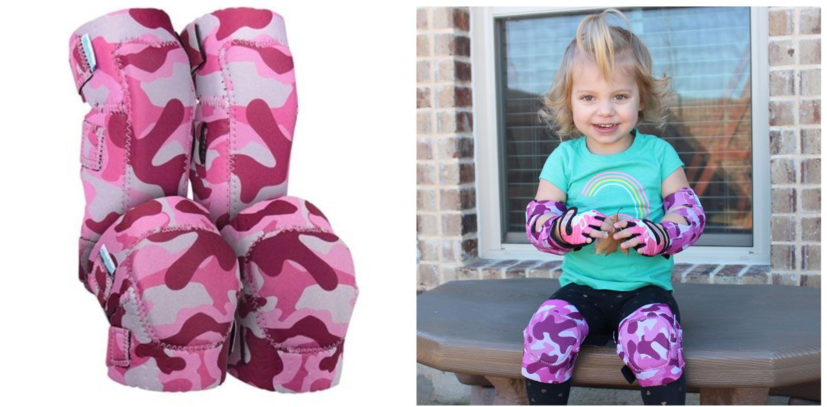 Simply Kids knee and elbow pad set in pink camo, and toddler wearing the set.