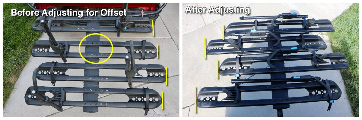 RockyMounts SplitRail LS bike car rack - bike trays can be adjusted left or right to adjust for handlebars hitting each other