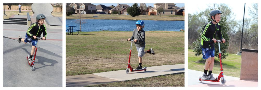Boys riding Micro Sprite scooter at the skate park and on a paved trail.