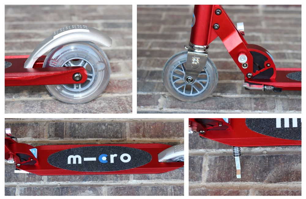 Premium components of the Micro Sprite - back wheel with brake, front wheel with folding system, kickstand, and foot deck