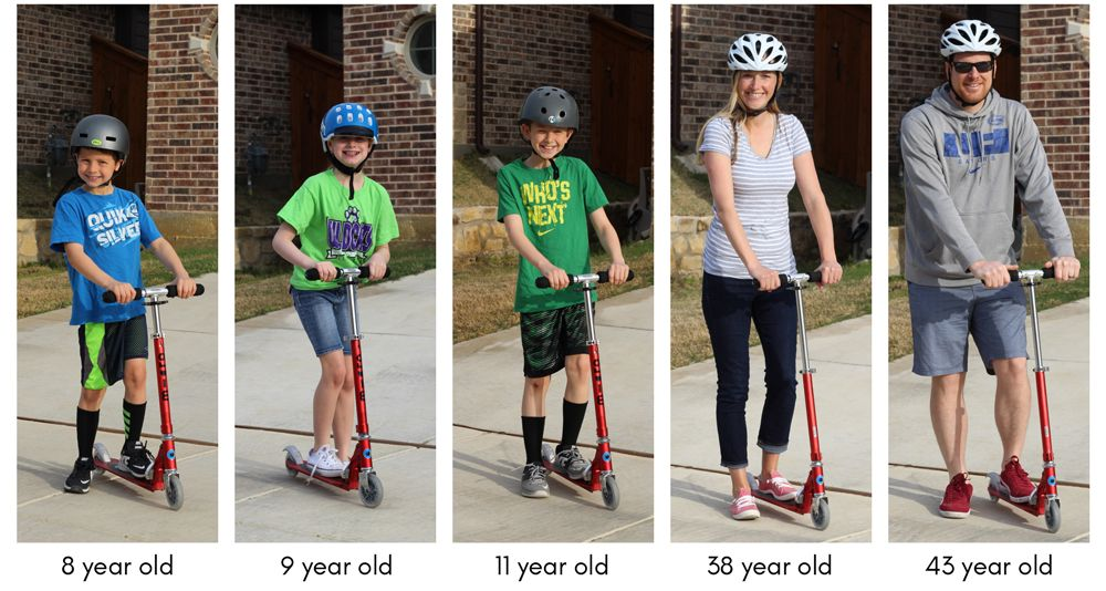 Collage of a family on the same Micro Sprite scooter to show how it fits a variety of ages - 8-year-old, 9-year-old, 11-year-old, Mom, and Dad.
