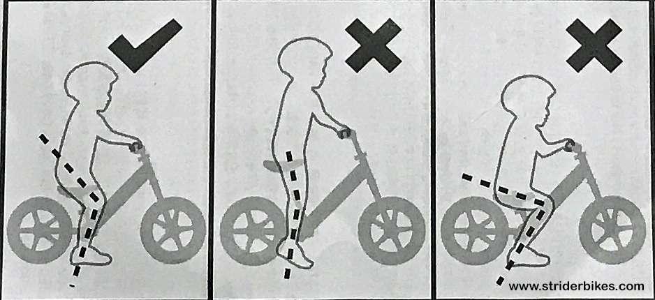 diagram of proper seat height for a balance bike