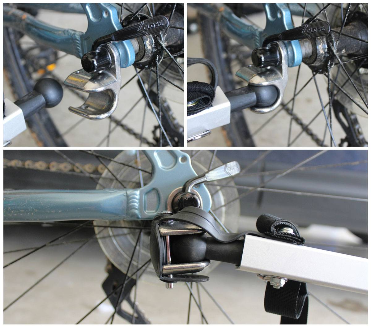 Round socket hitch of Thule Cadence attached to rear axle of adult bike