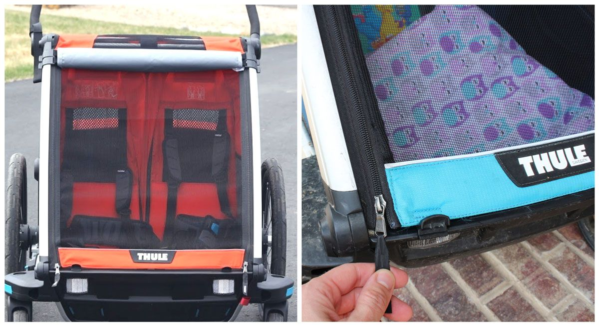 Front mesh cover and zipper on Thule Chariot Cross