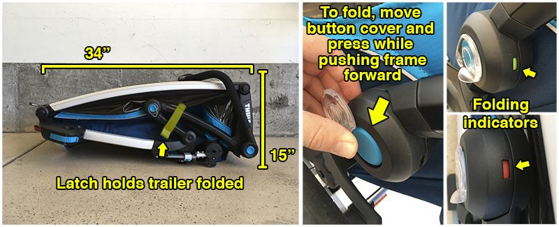 "Latch holds folded trailer closed. Folder dimensions are 34"" by 15"". To fold the trailer, you press a button while pushing the frame of the trailer forward."