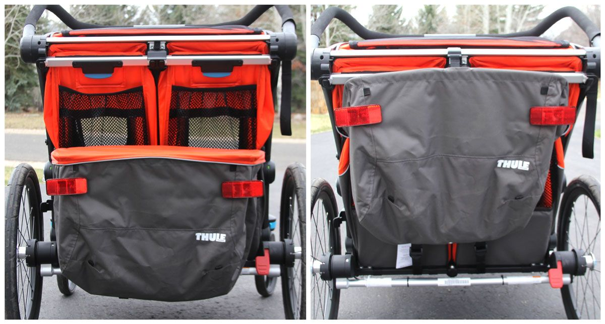 Rear of Thule Chariot Cross showing storage trunk in place and then folded up.
