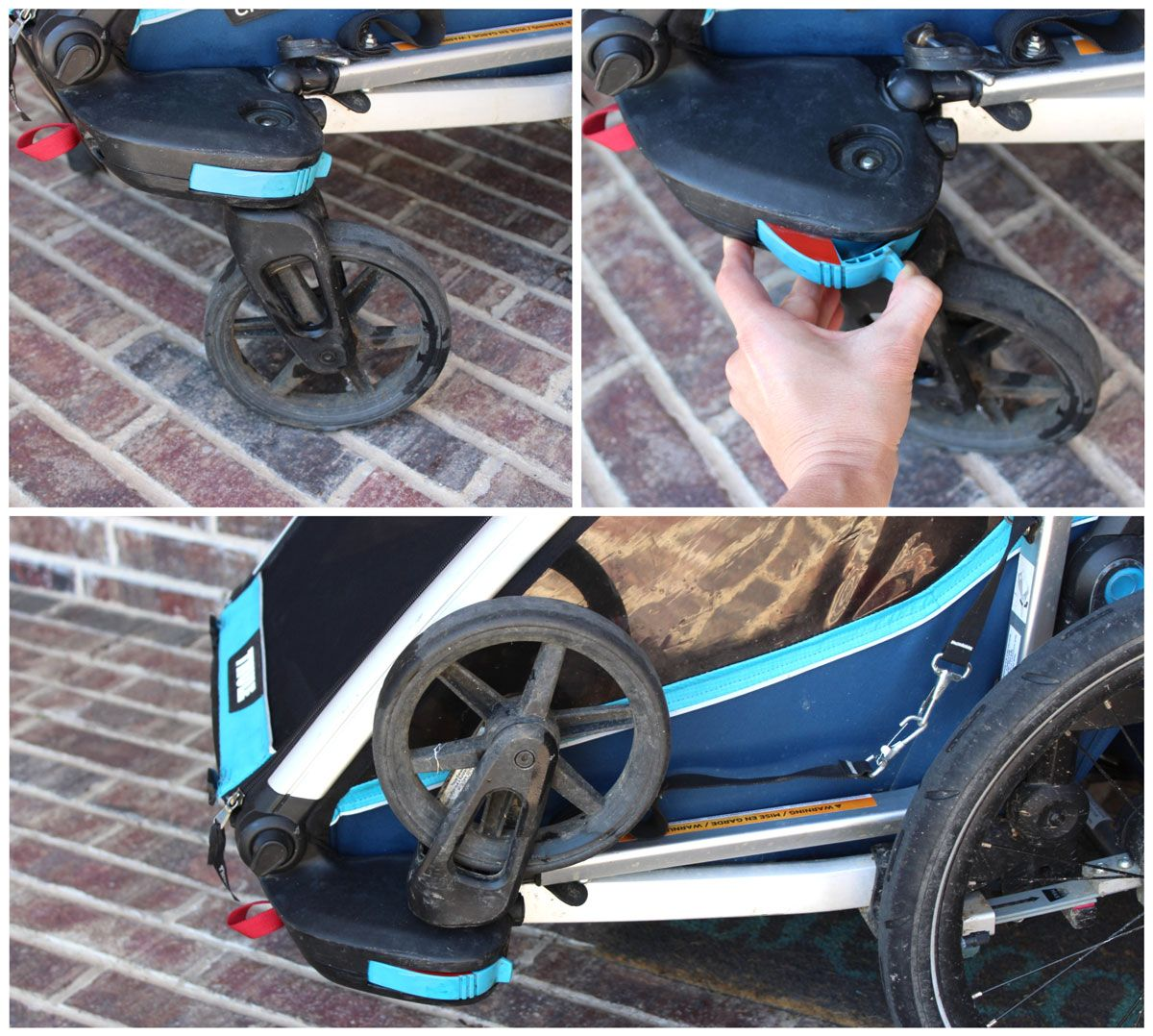Stroller wheels on Thule Chariot Cross and stored on trailer when not in use