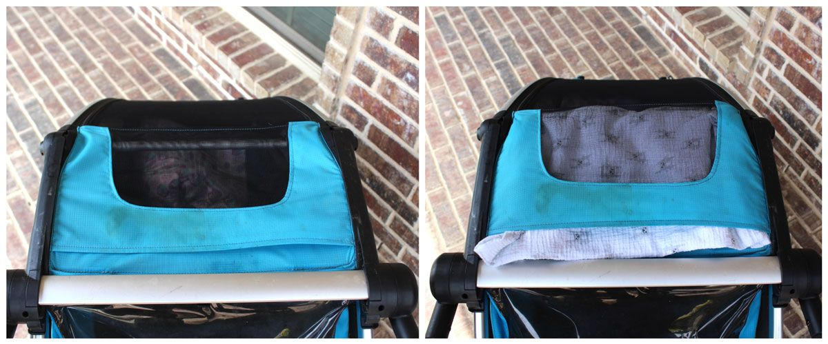 Top viewing window of Thule Chariot Cross with and without a blanket for sunshade