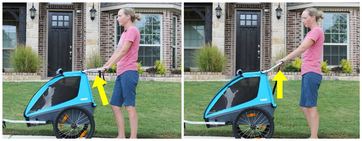 Thule Coaster XT bike trailer in stroller mode. Handlebar is flipped to show two different handlebar heights