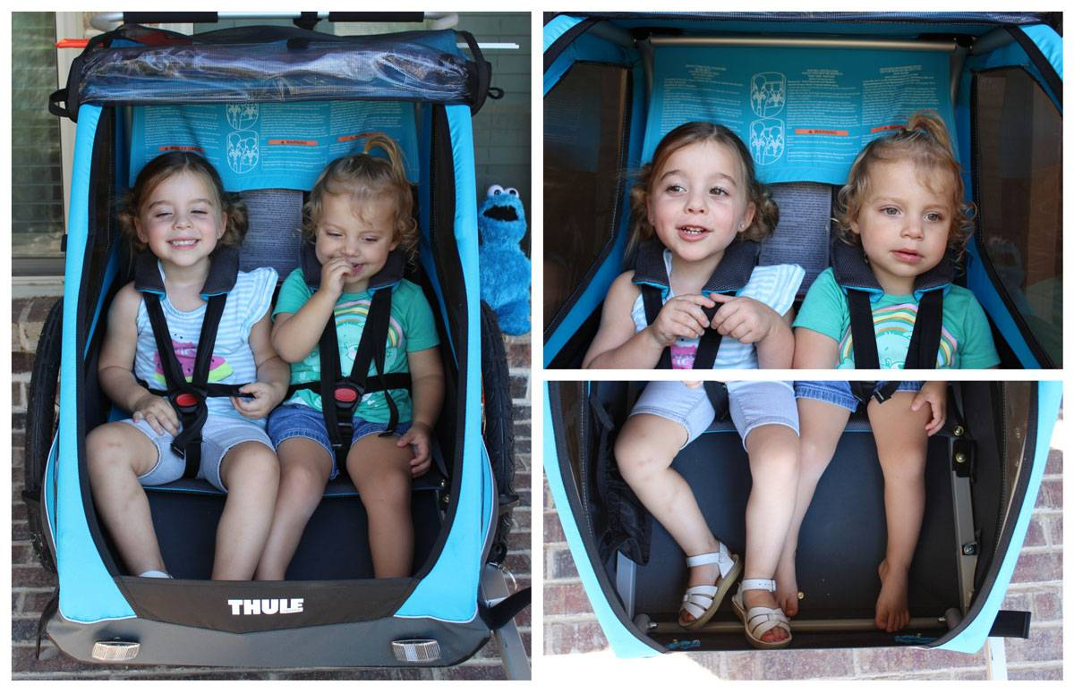 Interior space in the Thule Coaster XT with 3.5 year old and 22 month old
