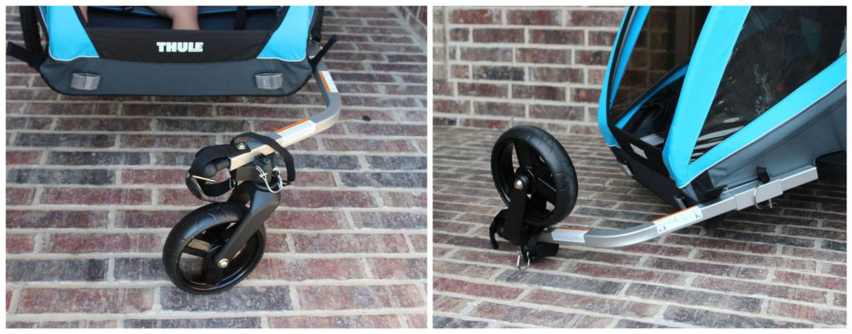 Thule Coaster XT bike trailer stroller wheel in place, and then flipped and stored.