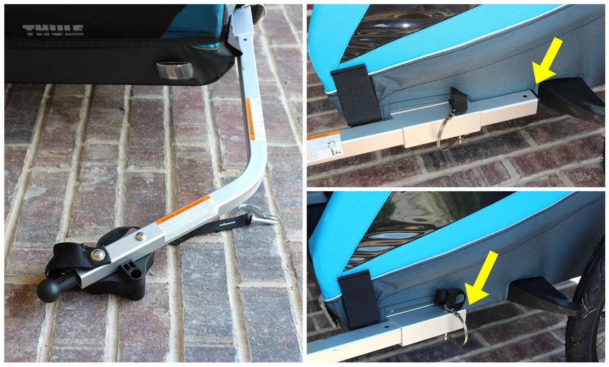 Trailer arm on Thule Coaster XT - tucks in closer to body of trailer when in stroller mode