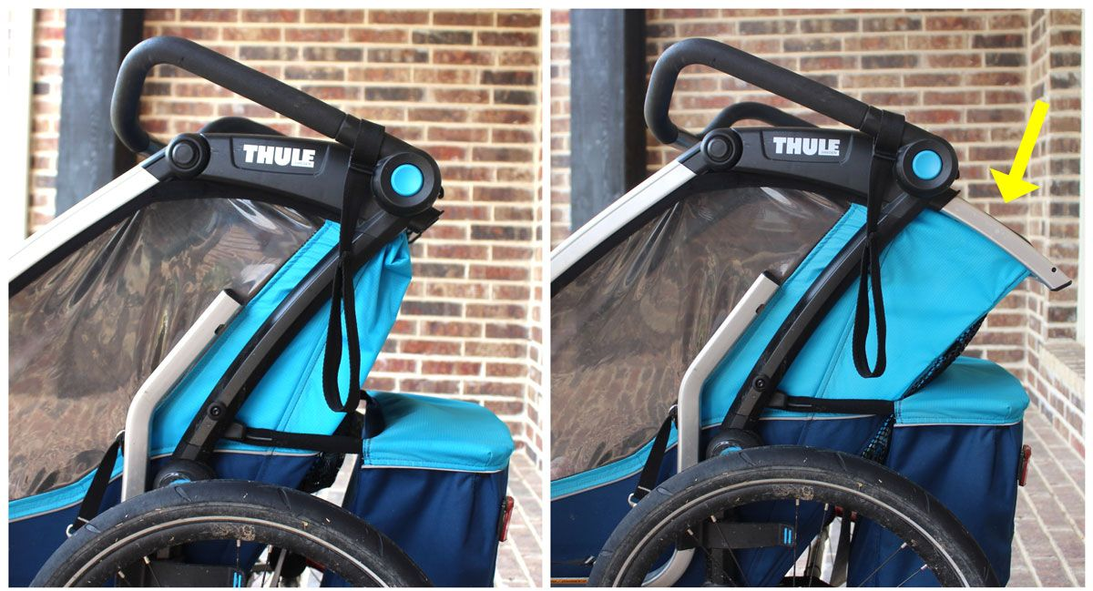 Side shot of Thule Chariot Cross not reclined and then reclined