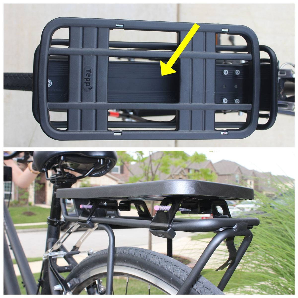 Yepp EasyFit adapter mounted on a traditional bike rack