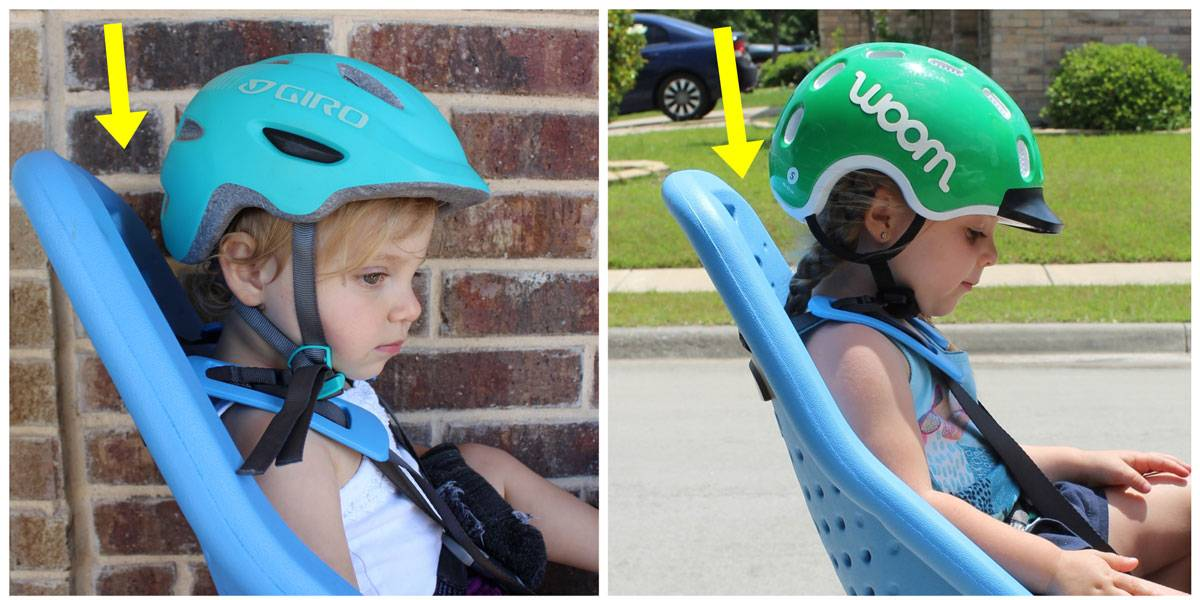 Thule Yepp Maxi child bike seat angles back to allow for room for the back of a child's helmet