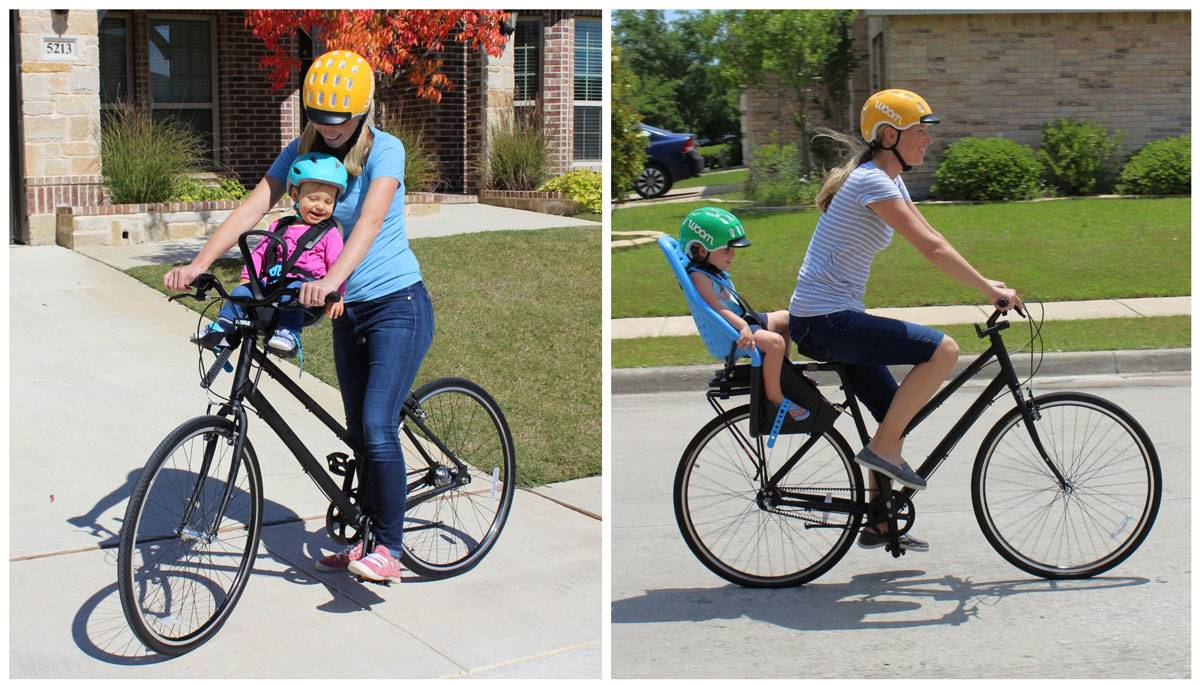 Mom riding with toddler in a front-mounted bike seat vs. a rear-mounted bike seat
