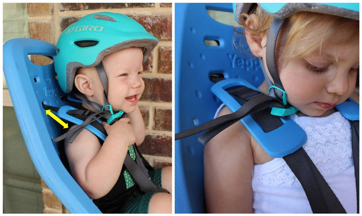 Comparison of shoulder strap height of the Thule Yepp Maxi on a 12 month old and 19 month old in the Thule Yepp Maxi child bike seat