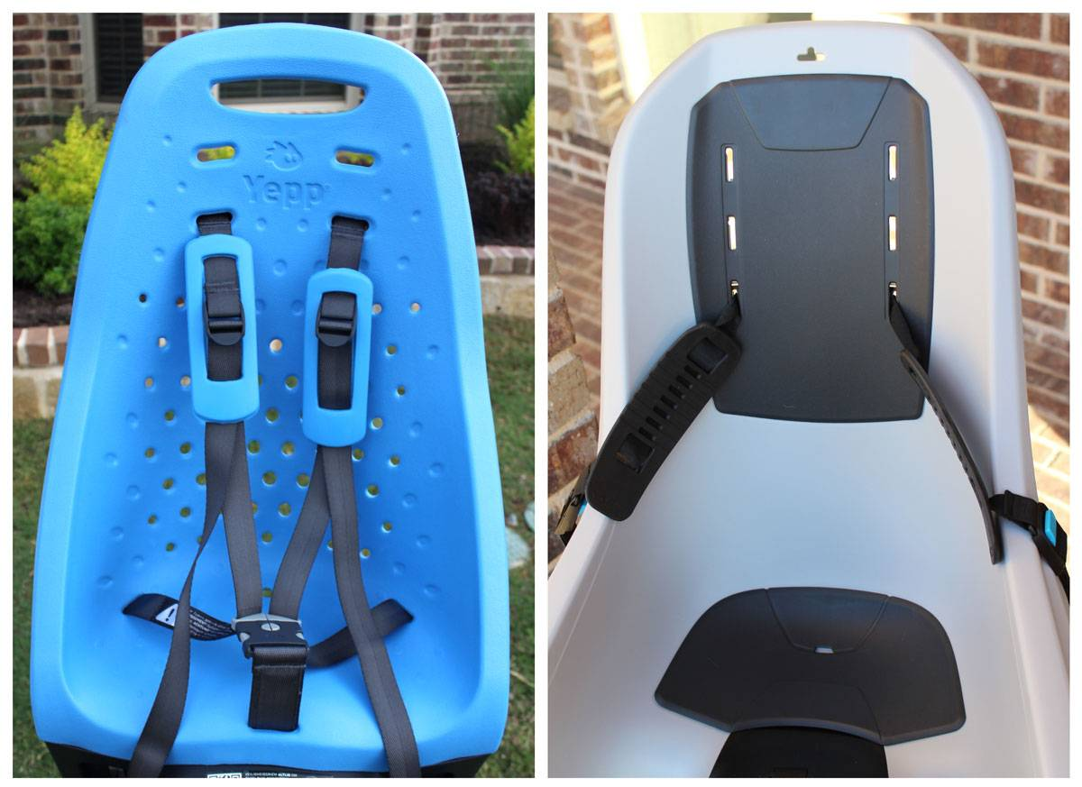 Thule Yepp Maxi child bike seat has many ventilation holes in the back vs. the Thule RideAlong Lite with a solid plastic back
