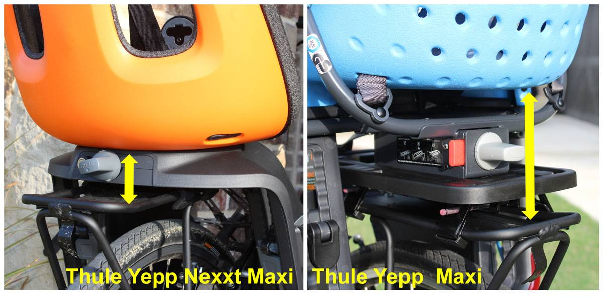 Rear shot of Thule Yepp Nexxt Maxi and Thule Yepp Maxi, showing how the Yepp sits higher