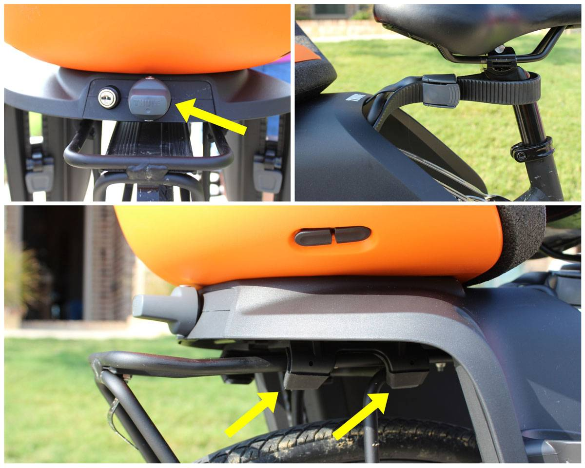 Mounting system on Thule Yepp Nexxt Maxi child bike seat. Arms clamp on rack by turning knob.