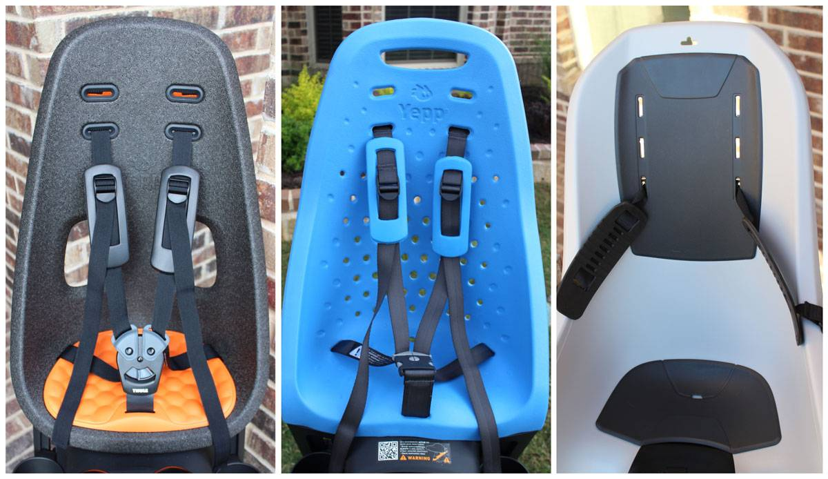 Side by side comparison of three Thule child bike seats - Yepp Next Maxi, Yepp Max, and RideAlong Lite