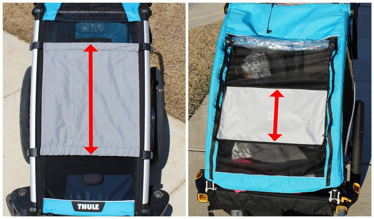 Thule Cross bike trailer sunshades is much longer than the sunshade on the Burley D'Lite