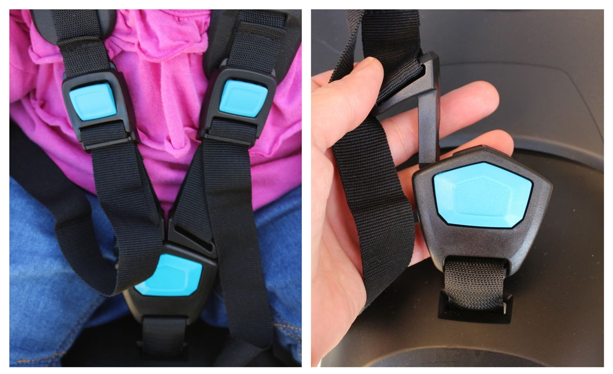Buckle of Thule RideAlong Lite - buckled and unbuckled.