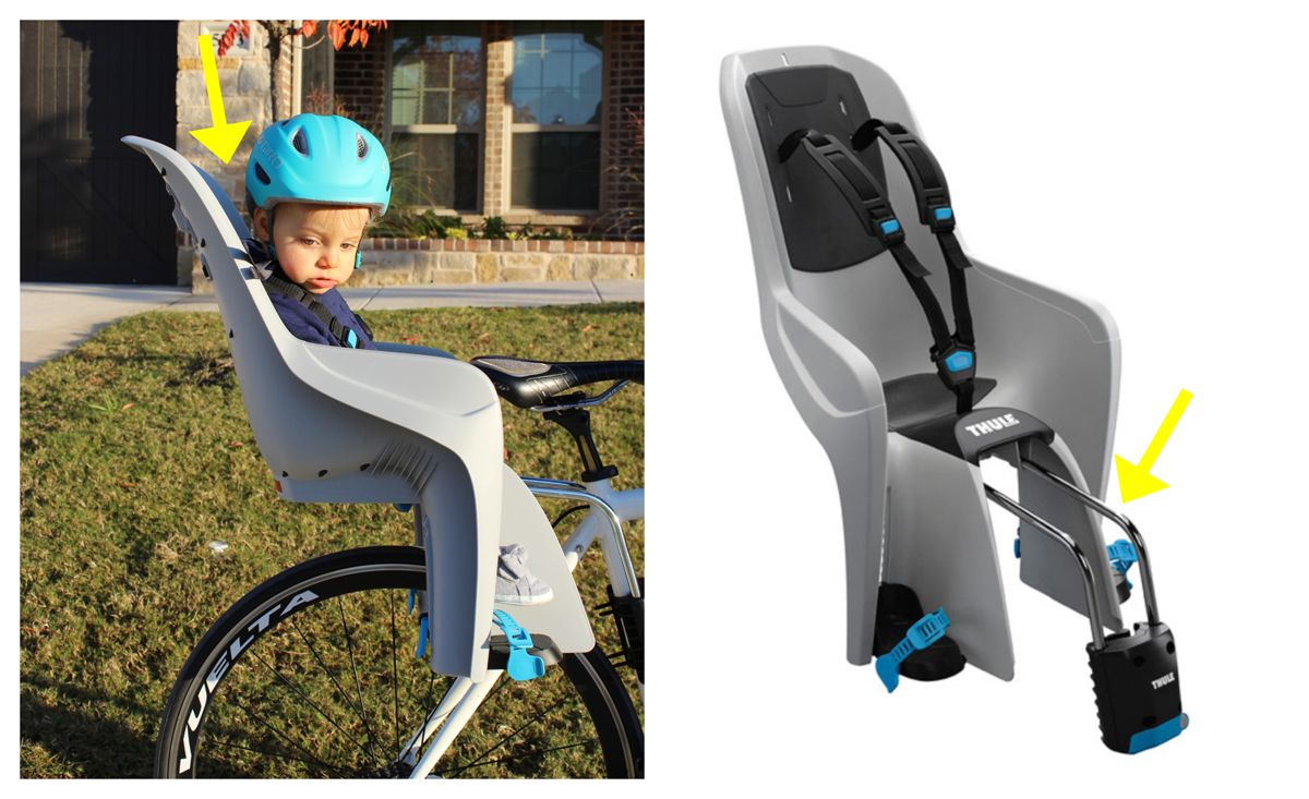 Sideshot of baby in Thule RideAlong Lite. The seat back curves back at an angle to leave room for a child's helmet.
