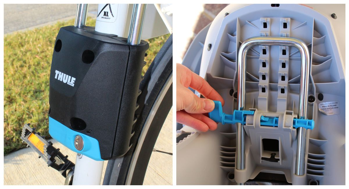 Mounting bracket of Thule RideAlong Lite mounted on bike. Underside of Thule RideAlong Lite showing how you adjust the seat forward and backward.