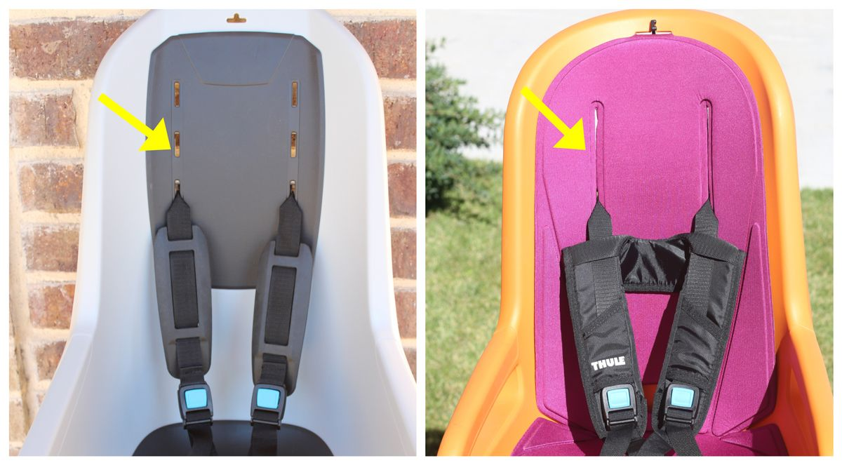 Seat back of Thule RideAlong Lite showing 3 spaces for shoulder strap height adjustment. Seat back of Thule RideAlong showing continuous slide for shoulder strap height adjustment.
