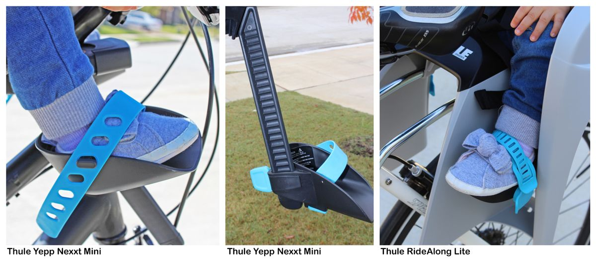 The footstrap of the Thule Yepp Nexxt Mini secured across a baby's foot, the adjustable height footrest of the Thule Yepp Nexxt Mini, and the foot strap of the Thule RideAlong Lite strapped across a baby's foot.