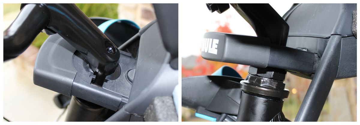 Mounting bracket for Thule Yepp Nexxt Mini mounted on adult bike.