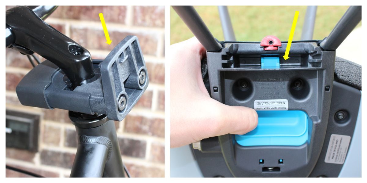 Quick release mounting bracket on Thule Yepp Nexxt Mini requires you to simply press on blue lever on bottom of seat.