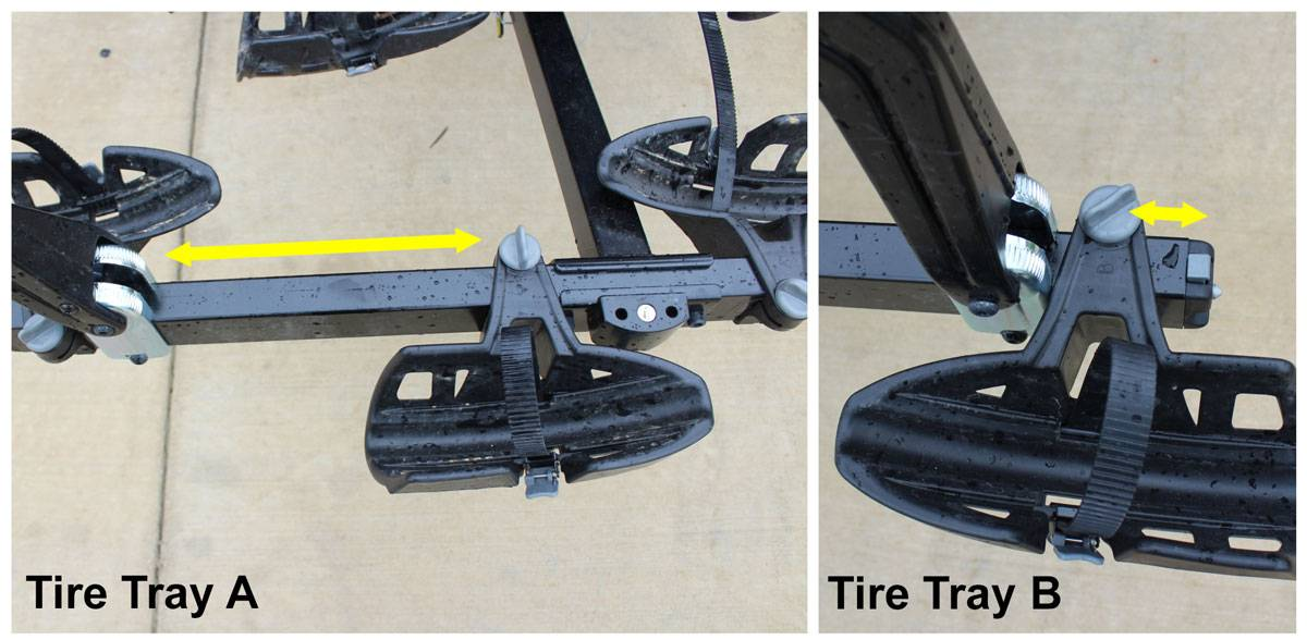 Saris SuperClamp EX car bike rack adjusting tire trays