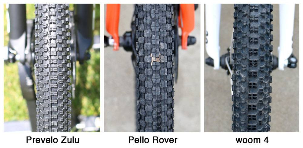 Side by side comparison of tire tread of Prevelo Zulu, Pello Rover, woom 4