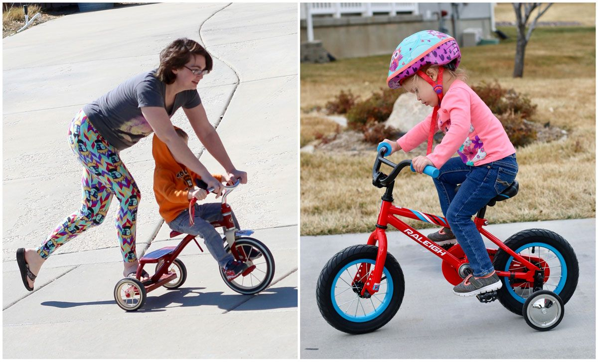 Side by side comparison of child riding Radio Flyer tricycle, and child riding 12 inch bike with training wheels.