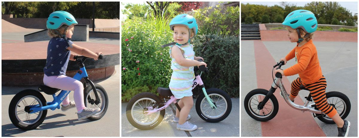 2-year-old toddler girl on three different balance bikes - Swagtron K3, Yedoo Too Too, Prevelo Alpha Zero